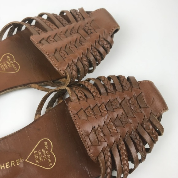 d1d4755165b3 Vintage 80s Huaraches sandals brown leather shoes.  M 5b44bee1d6dc5215d0d47efd